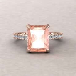 beverly 10x8mm radiant morganite diamond half eternity 14k rose gold ls5831