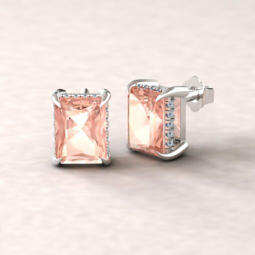 beverly 8x6mm radiant morganite diamond halo earrings 14k white gold ls5748