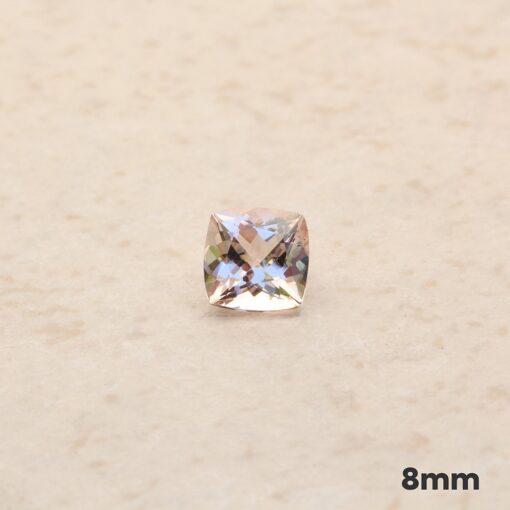 loose genuine morganite 8mm square cushion peachy pink LSG1267-8
