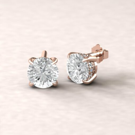beverly 7mm round moissanite diamond halo earrings 14k rose gold ls5616
