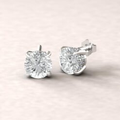 beverly 7mm round moissanite diamond halo earrings 14k white gold ls5616