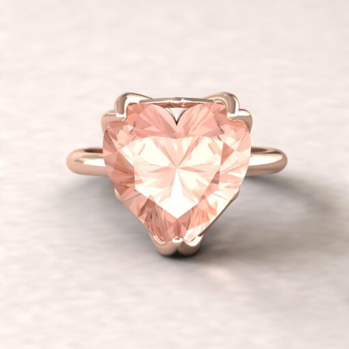 lily 12mm heart morganite ring flower solitaire 14k rose gold ls5857