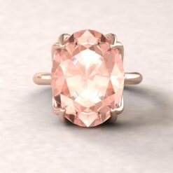 lily 16x12mm oval morganite engagement ring flower solitaire 14k rose gold ls5859