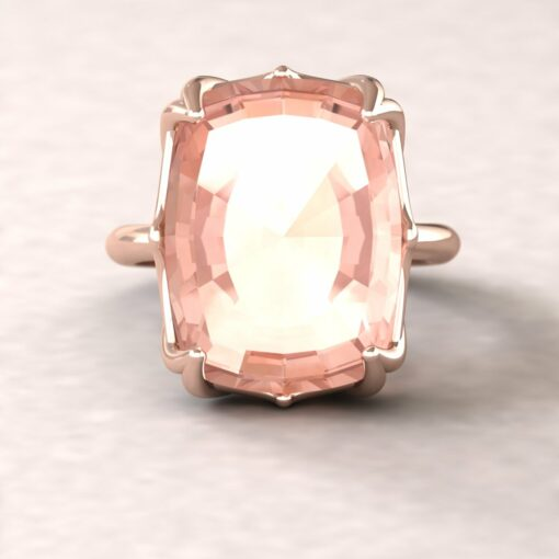lily 16x12mm rectangular cushion morganite engagement ring flower solitaire 14k rose gold ls5863