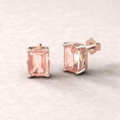 lola 7x5mm emerald morganite dainty earrings 14k rose gold ls5461