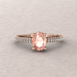 lola 7x5mm oval morganite diamond dainty half eternity 14k rose gold ls5129