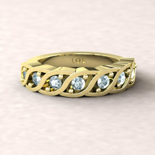 gift birthstone family ring twisted 7 stone band aquamarine 14k yellow gold LS5329