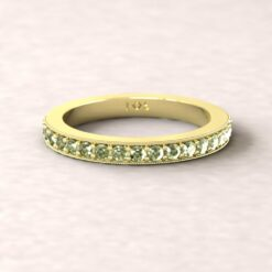 gift birthstone mothers ring 2.5mm square edge half eternity band milgrain peridot 18k yellow gold LS5360