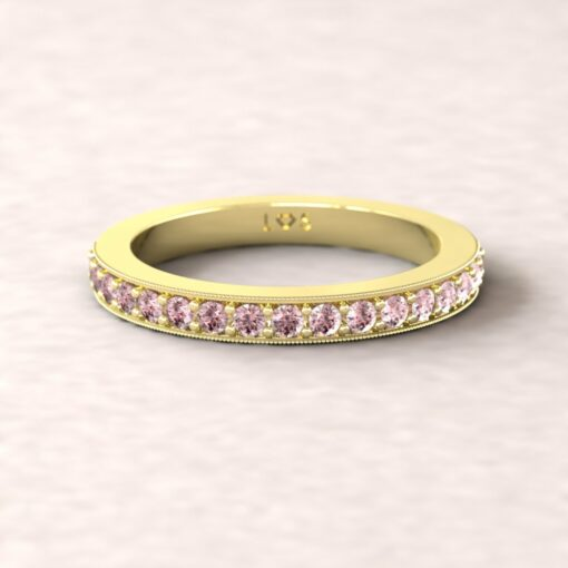 gift birthstone mothers ring 2.5mm square edge half eternity band milgrain pink tourmaline 14k yellow gold LS5360