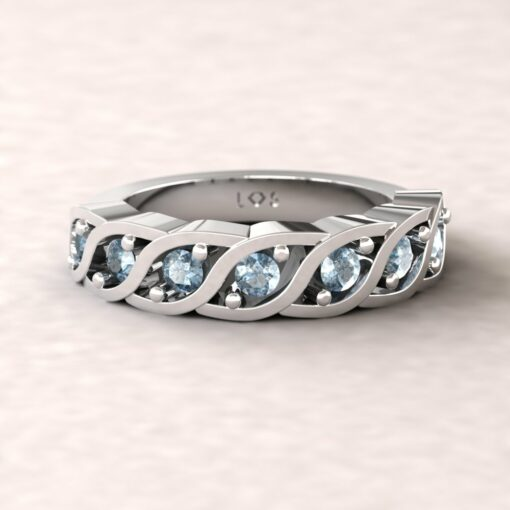 gift birthstone mothers ring twisted 7 stone band blue topaz sterling silver LS5329