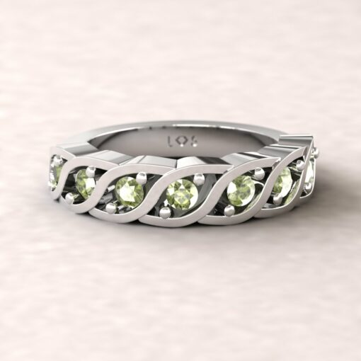 gift birthstone mothers ring twisted 7 stone band peridot 14k white gold LS5329