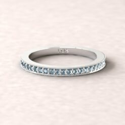 gift birthstone push present 2mm square edge half eternity milgrain blue topaz 18k white gold LS5358