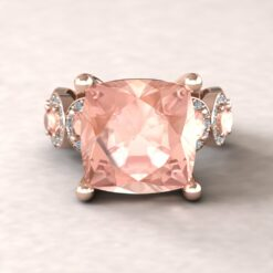 angeline 12mm square cushion morganite pave diamond halo half eternity 14k rose gold ls5910
