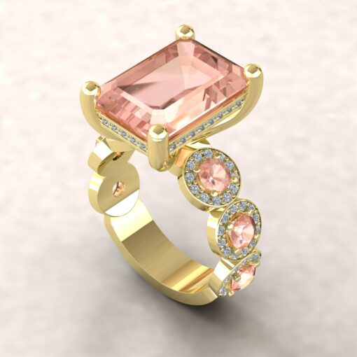 angeline 14x10mm emerald morganite pave diamond halo half eternity engagement ring 14k yellow gold ls5898