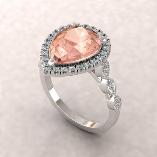eloise 12x9mm pear morganite diamond halo half eternity vintage engagement ring 14k white gold ls5640