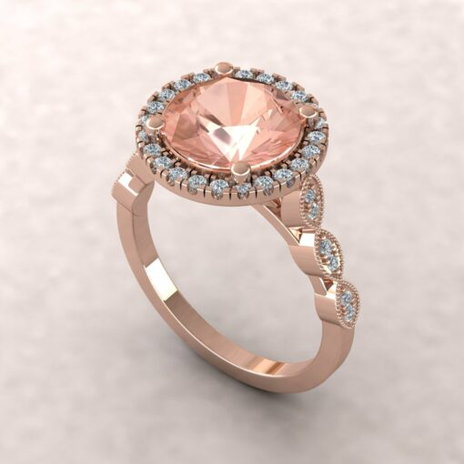 eloise 9mm round morganite diamond halo half eternity vintage engagement ring 14k rose gold ls5646