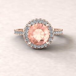 helena 8mm round morganite cathedral engagement ring halo half eternity diamond 14k rose gold ls5887