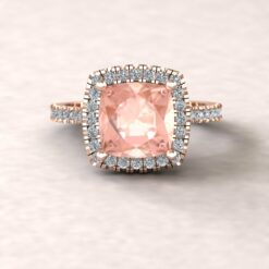 helena 8mm square cushion morganite cathedral engagement ring halo half eternity diamond 14k rose gold ls5888