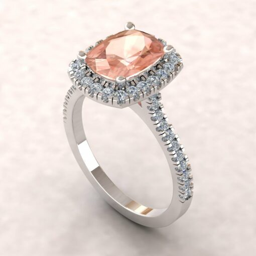 helena 9x7mm rectangular cushion morganite cathedral engagement ring halo half eternity diamond 14k white gold ls5886