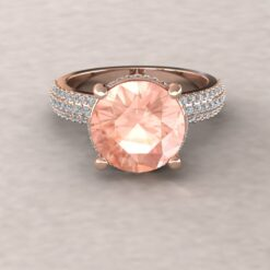 adeline morganite 10mm round diamond half eternity micro pave 14k rose gold ls5926