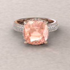 adeline morganite 10mm square cushion aquamarine diamond half eternity micro pave 14k rose gold ls5281