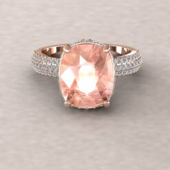 adeline morganite 11x9mm rectangular cushion diamond half eternity micro pave 14k rose gold ls4482