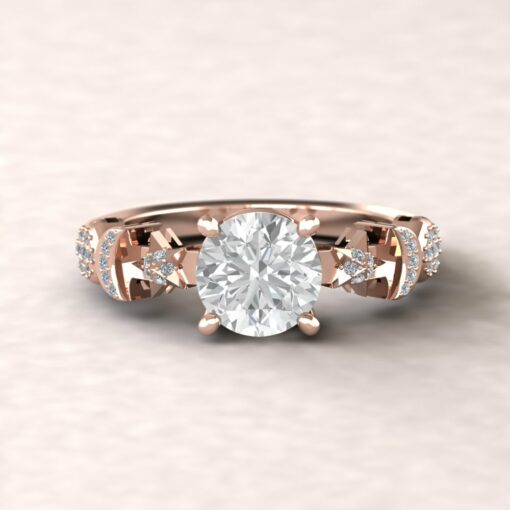 celeste 7mm round moissanite engagement ring sun moon star pave diamond 14k rose gold ls5893