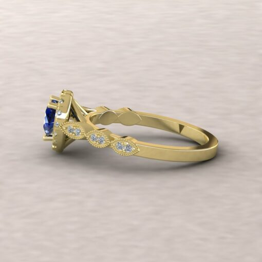 eloise blue sapphire 5mm heart diamond half eternity engagement ring 14k yellow gold ls5652