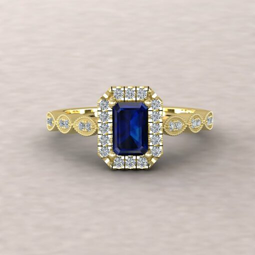 eloise blue sapphire 6x4mm emerald cut diamond half eternity 14k yellow gold ls5651