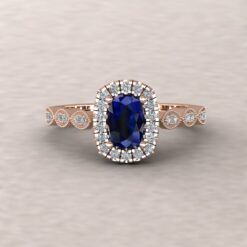 eloise blue sapphire 6x4mm rectangular cushion diamond half eternity engagement ring 14k rose gold ls5658