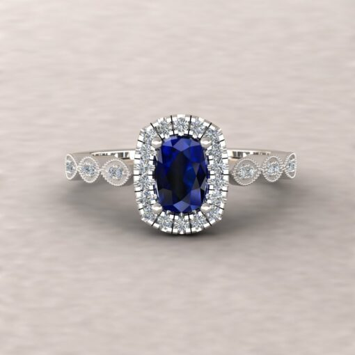 eloise blue sapphire 6x4mm rectangular cushion diamond half eternity engagement ring 14k white gold ls5658