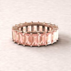 lily morganite 5x3mm emerald cut wedding band full eternity 14k rose gold ls5934