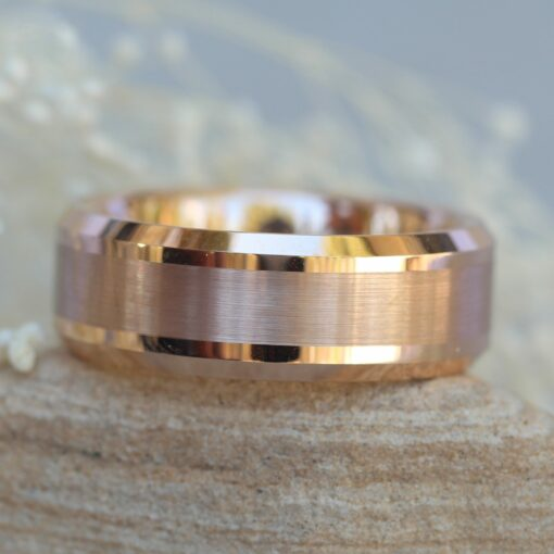 tungsten mans band 8mm rose gold ip plated brushed center high polished beveled edge LS5449