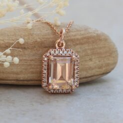 helena morganite classic pendant 9x7mm emerald cut white diamond halo 14k rose gold LS6106