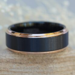 tungsten mans wedding band 8mm two tone black and rose gold ip brushed center stepped edge LS6138