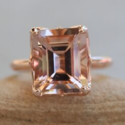 5 carat morganite ring with 14k rose gold lily petals ls6099