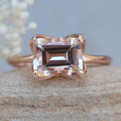 East West Morganite Emerald Cut Solitaire Ring 14k rose gold LS6115