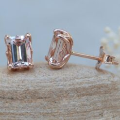 Emerald Cut Morganite Earrings 14k rose gold Lily Collection LS6172