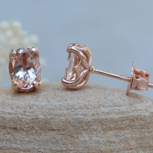 Oval Morganite Earrings 14k rose gold Lily Collection LS6173