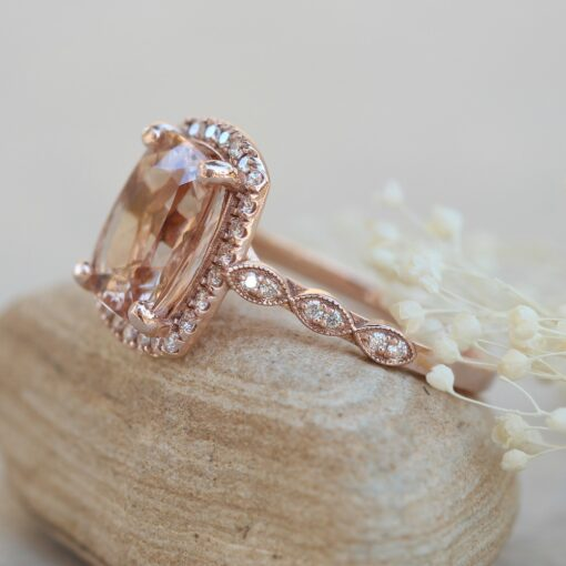 4 Carat Morganite Ring 11x9mm Cushion Cut 18k Rose Gold LS5644