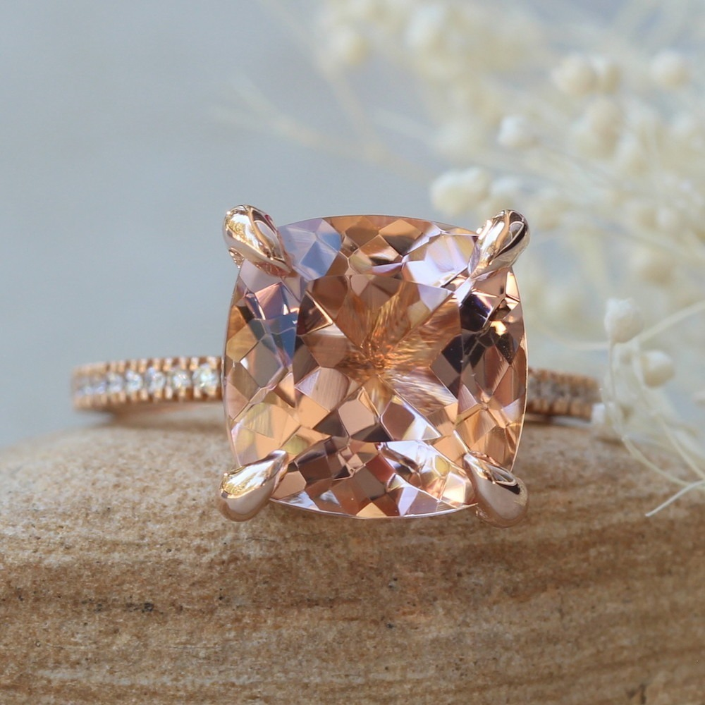 10mm Square Cushion SolitaireBeverly Ring with Genuine F VS2 Diamonds Natural Morganite Engagement Ring LS5433 by Laurie Sarah
