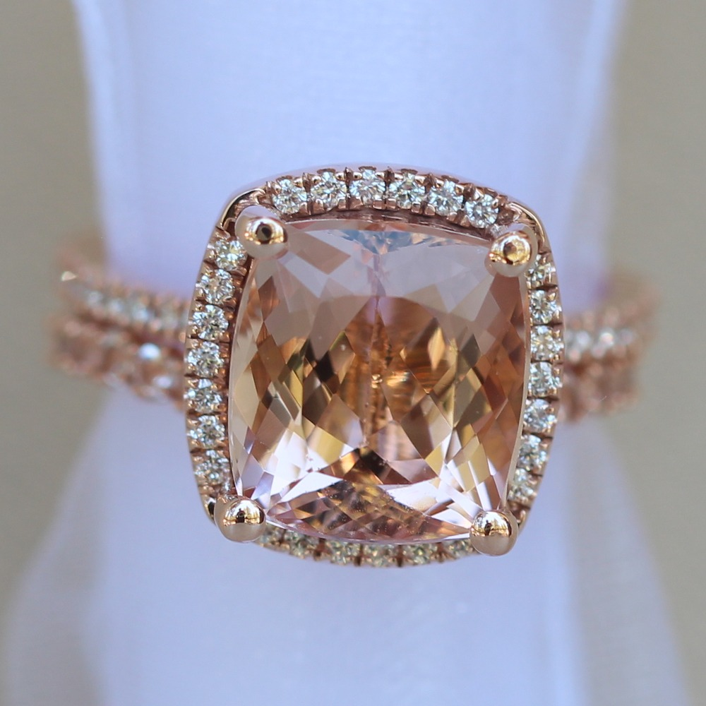 Cushion Morganite Wedding Set Diamonds Matching Band LS4459 LS6082