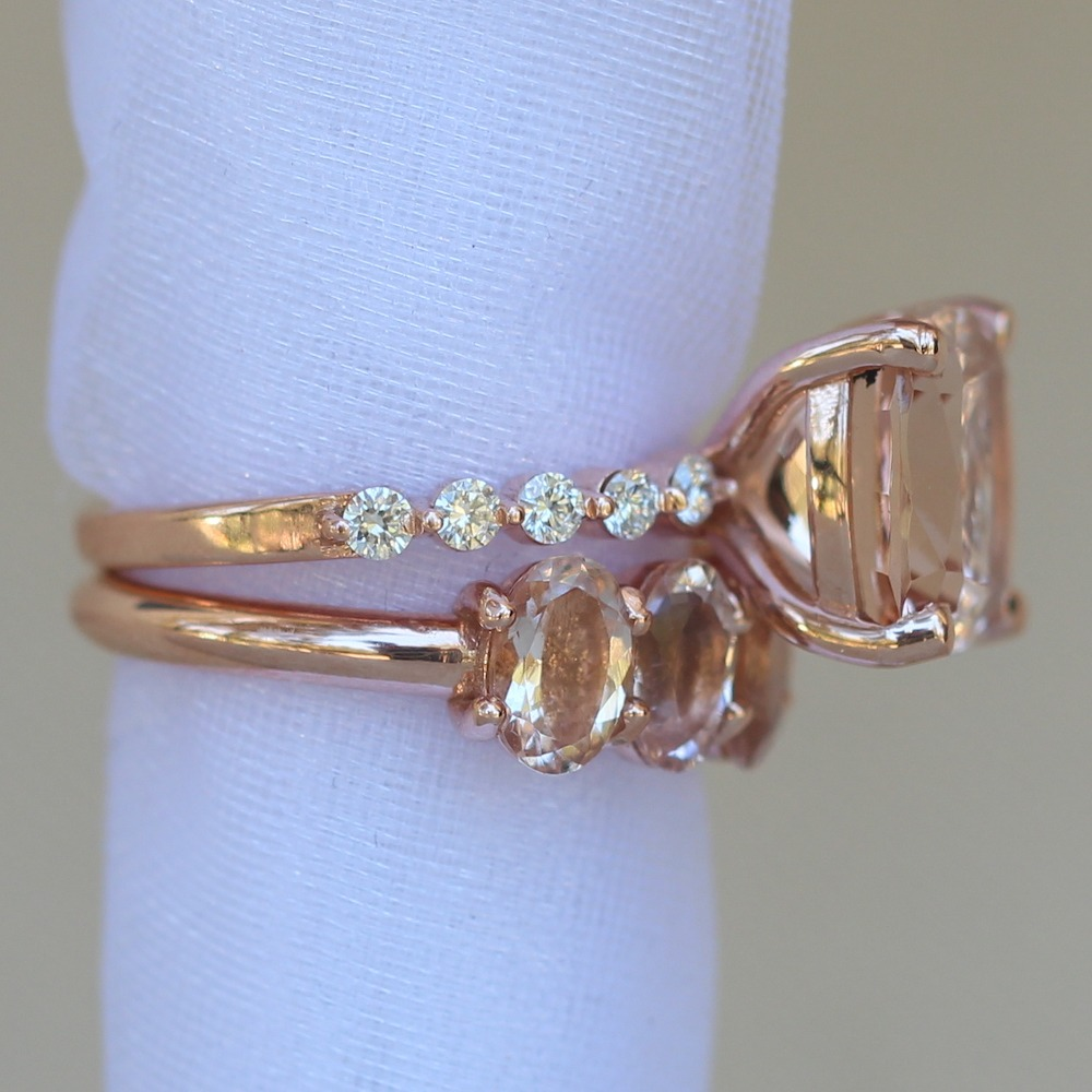 Morganite Engagement Ring with Matching Band LS6247 LS6248