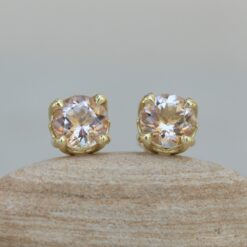 Round Morganite Stud Earrings with 14k Yellow Gold Lily Petals LS6286