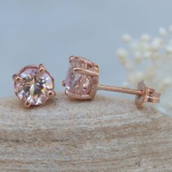 6mm Round Morganite Earrings Studs Handmade in 14k Rose Gold LS5686