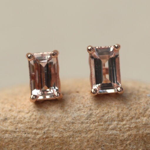 5x3mm Emerald Morganite Studs Tiny Earrings in 14k Rose Gold LS6386