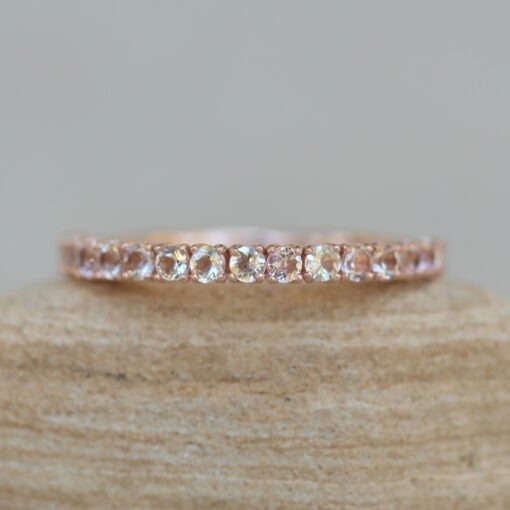 Half Eternity Morganite Band with 14k Rose Gold Lily Petals LS6224