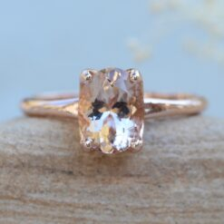 9x7mm Oval Morganite Ring with Petal Prongs 14k Rose Gold LS5860