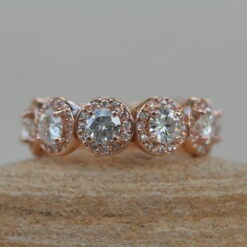 Moissanite Wedding Band with Diamond Halos 14k Rose Gold LS5141