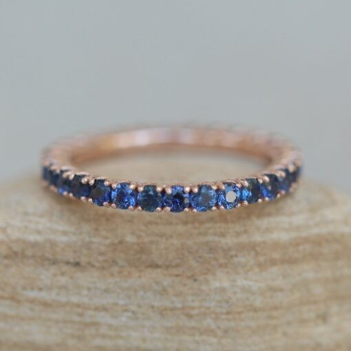 Blue Sapphire Full Eternity Wedding Band in 14k Rose Gold LS6423